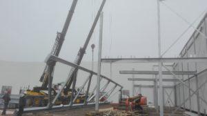 Montage staalconstructie Vandersterre synchroon hijsen