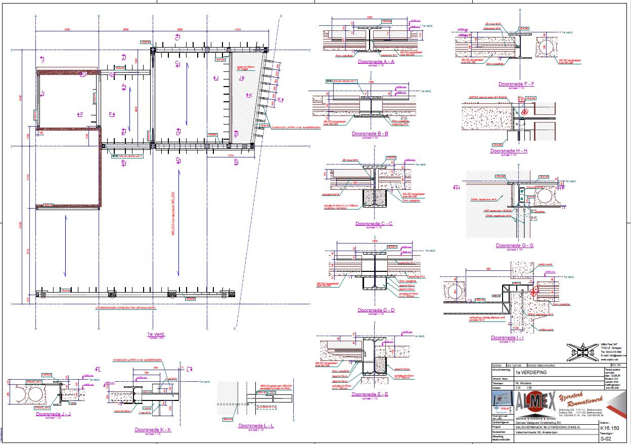 werkplaatstekeningen voor montage met details