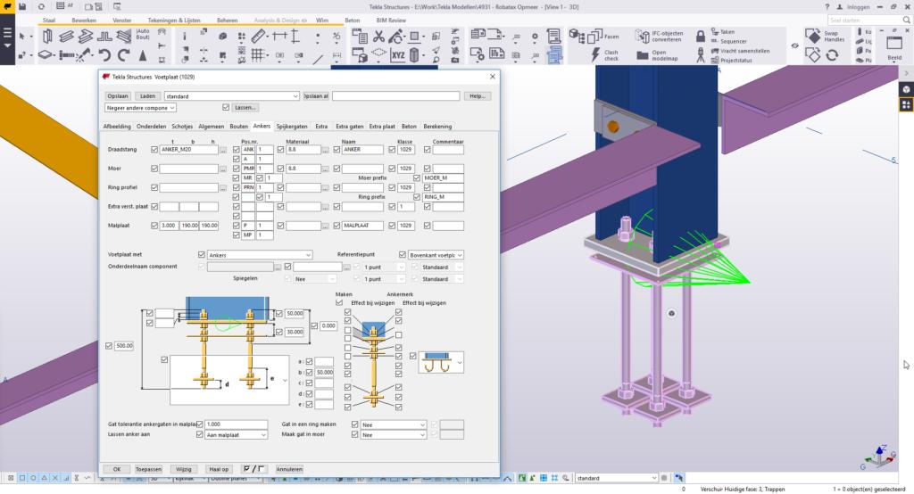 tekenaar staalconstructies - Tekla component scherm