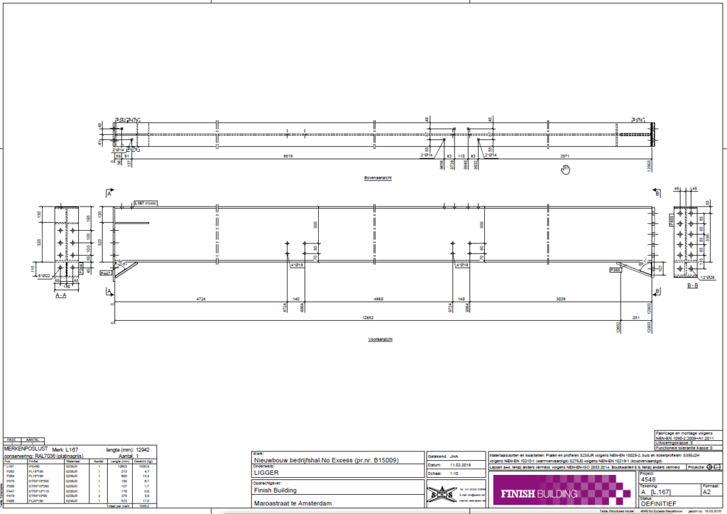 tekenaar staalconstructies - Werkplaatstekening voorbeeld Ligger