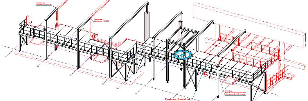 3D Tekening van nieuw staal in bestaande situatie